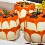 Aprikosen mit Kokos Karamell Dessert