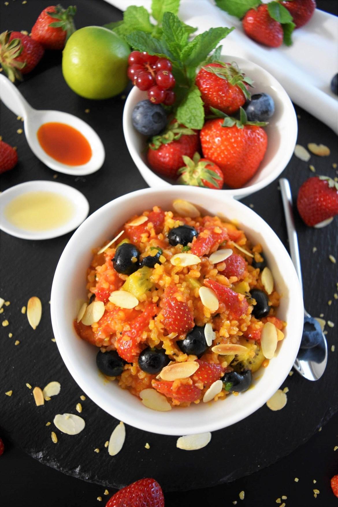 Fruchtiger Bulgur Salat mit Sanddorn Gesund