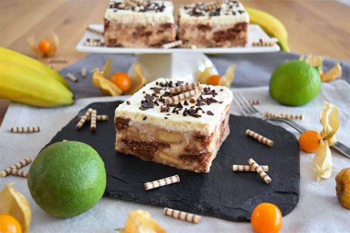 Bananen-Keks-Pudding-Schnitten