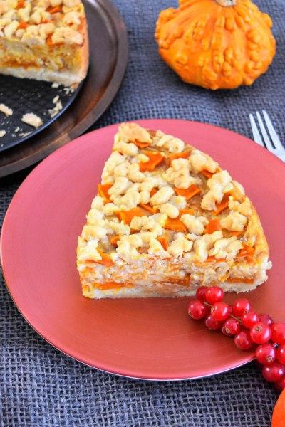 Kürbis Streuselkuchen mit Vanillesahne Pudding-Rezept-ballesworld