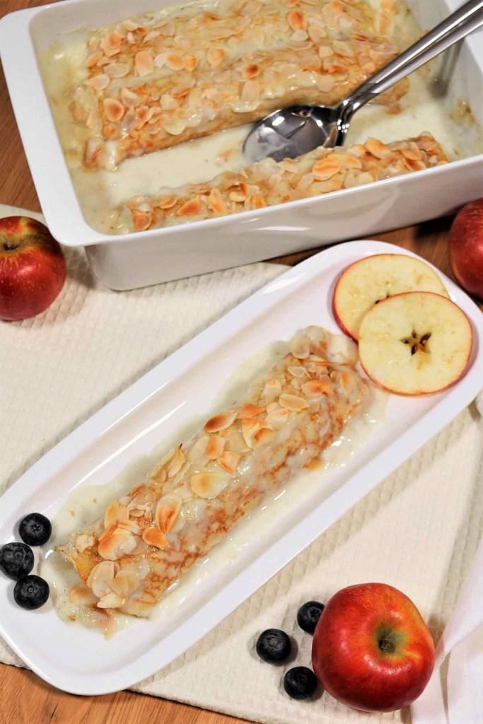 Überbackene Apfel-Korinthen Pfannkuchen-Dessert-ballesworld