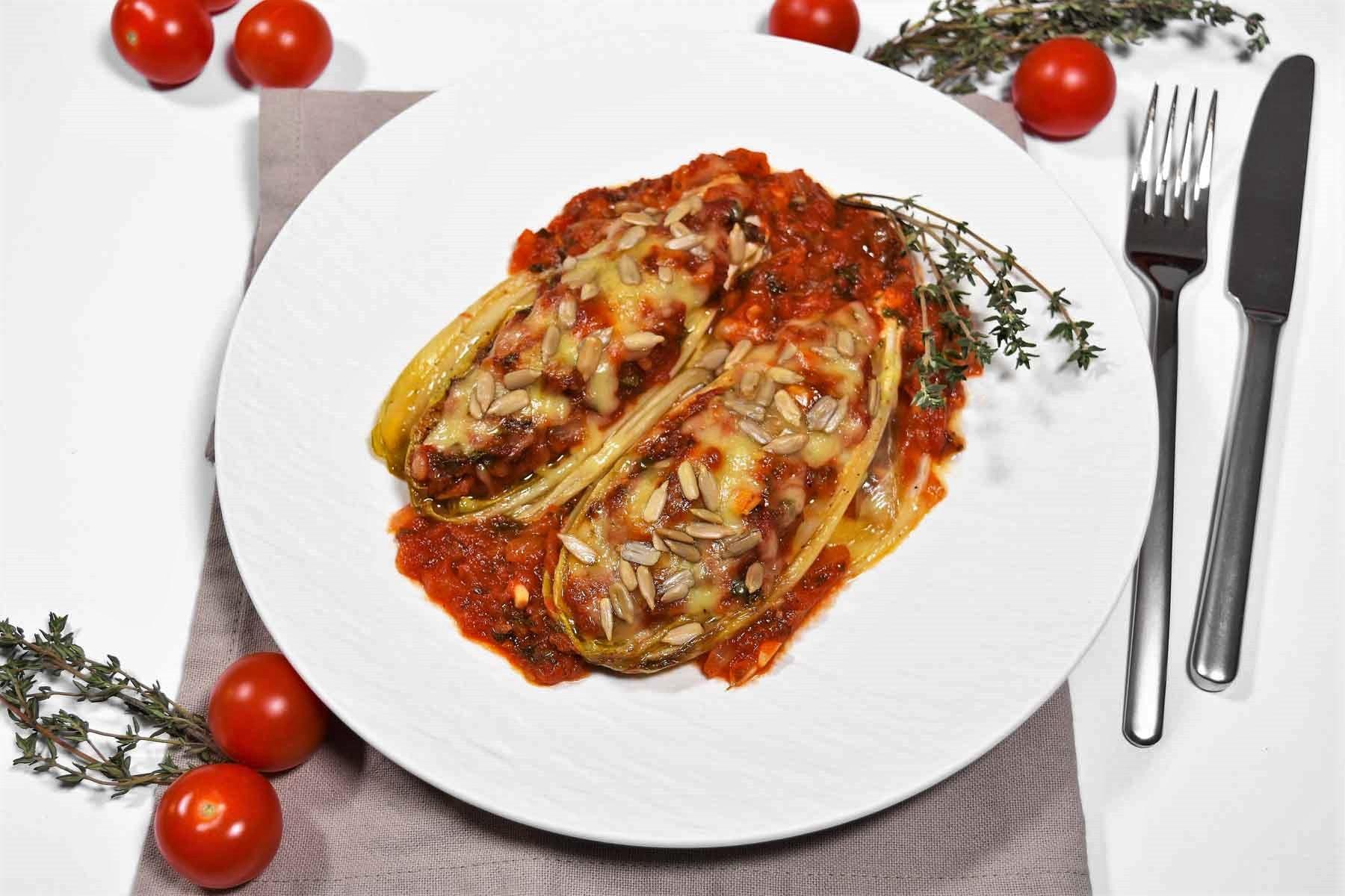 Chicorée-Tomaten-Auflauf