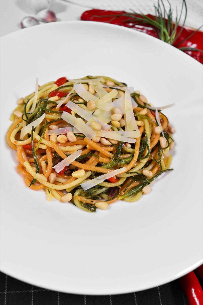 Mönchsbart-Knoblauch Spaghetti-Pasta Gerichte-ballesworld