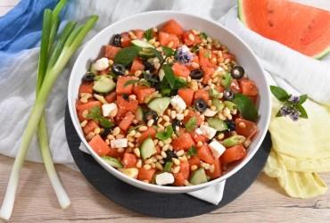 Wassermelonen Salat mit Feta und Oliven-Rezept-ballesworld
