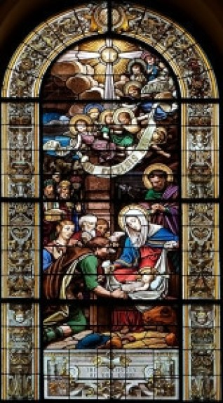 St-Jean-Baptiste-Catholic-church-stained-glass-window-Charles-Lorin-Nativity