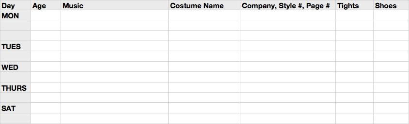 Spreadsheet for Recital