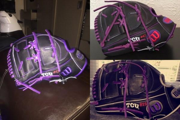 TCU's Wilson Gloves: Black and Purple B2