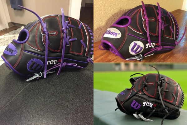 TCU's Wilson Gloves: Black and Purple B2 with red stitching