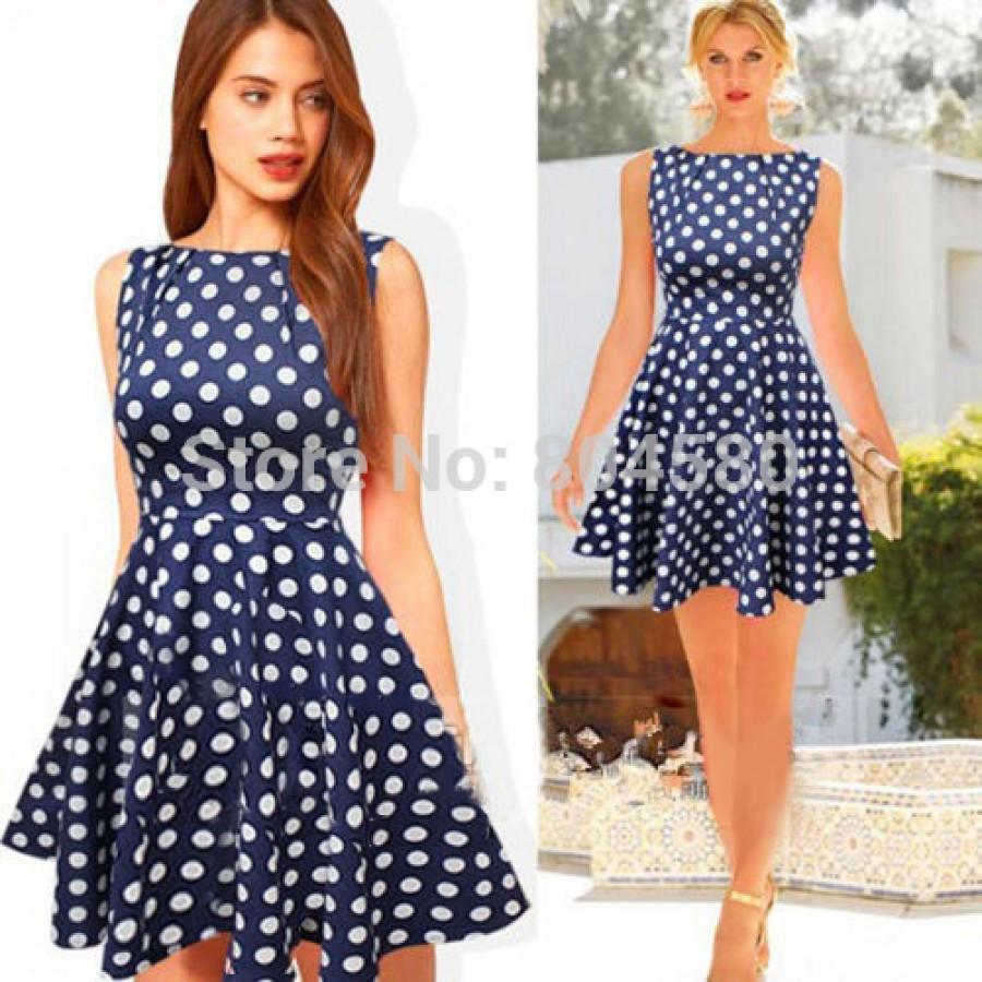 2015 New Summer Women 50s Vintage Polka Dots Dress