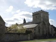 Holywell Manor wall & St Cross church, Manor Road