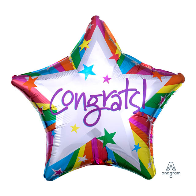 Helium Ballon Rainbow Congrats 45 CM, verjaardag