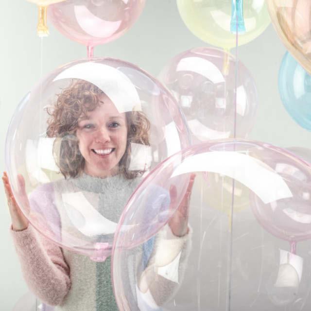 Helium Ballon Bol 40 CM transparant, heliumballon zo rond als strandbal, heliumballon regenboog, ballon rond, ronde folieballon, ballon versturen, helium ballon, ballon bezorgen.