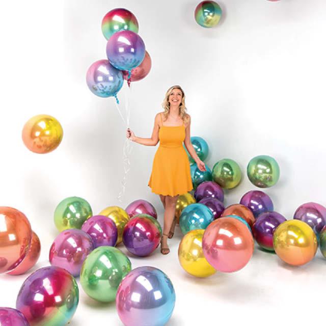 Helium Ballon Bol Ombre 40 CM blauw - groen tinten, heliumballon zo rond als strandbal, heliumballon regenboog, ballon rond, ronde folieballon, ballon versturen, ballon per post, greetz