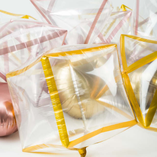 Helium Ballon Transparant Geometrisch, driehoek ballon, prisma ballon, kubus ballon, transparante ballon, decoratieve ballon.