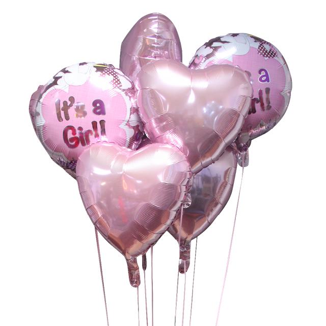 Helium Ballon Boeket Girl (7 ballonnen), boeket, tros, ballon versturen, ballon kado, Greetz ballon, geboorte ballon