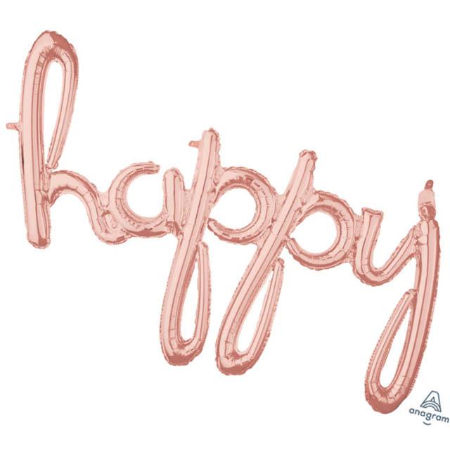 Ballon Letters Happy Rosé Goud 99 CM, ballon versturen, ballon per post, Greetz ballon, ballon met lucht