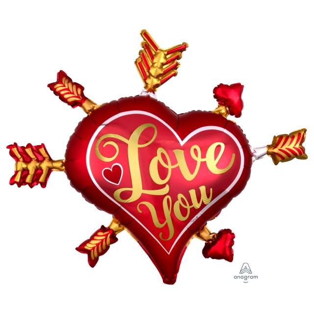 Helium Ballon Love you pijltjes 70 CM, ballon liefde, ballon ik hou van je, ballon liefde versturen