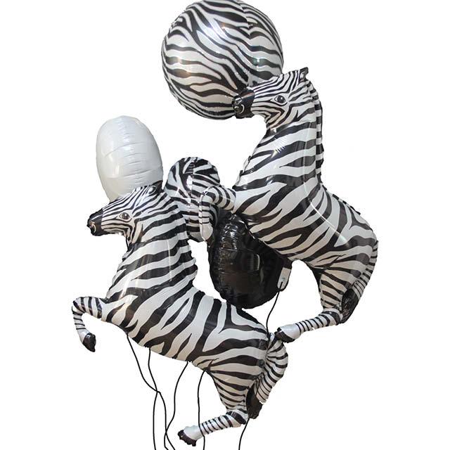 Helium Ballon Boeket Zebra, ballon boeket, zebra ballon, dierenprint ballon, Greetz, ballon versturen, ballon per post, helium ballon