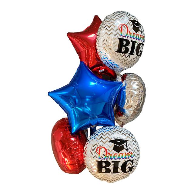 Helium Ballon Boeket Geslaagd, ballon versturen, ballon per post, geslaagd ballon, ballonnentros, tros ballonnen, helium ballonnen, greetz