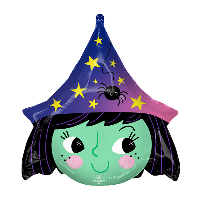 Helium Ballon Halloween Heks 50 CM, ballon versturen, ballon per post, greetz ballon, hallmark, halloween ballon, halloween, heks ballon, helium ballon