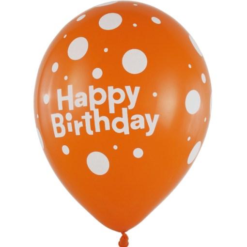 Latexballon 28cm Happy Birthday orange 1
