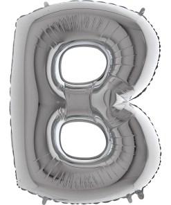 Buchstabe B, SILBER, Folienballon H102cm