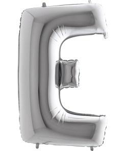 Buchstabe E, SILBER, Folienballon H102cm