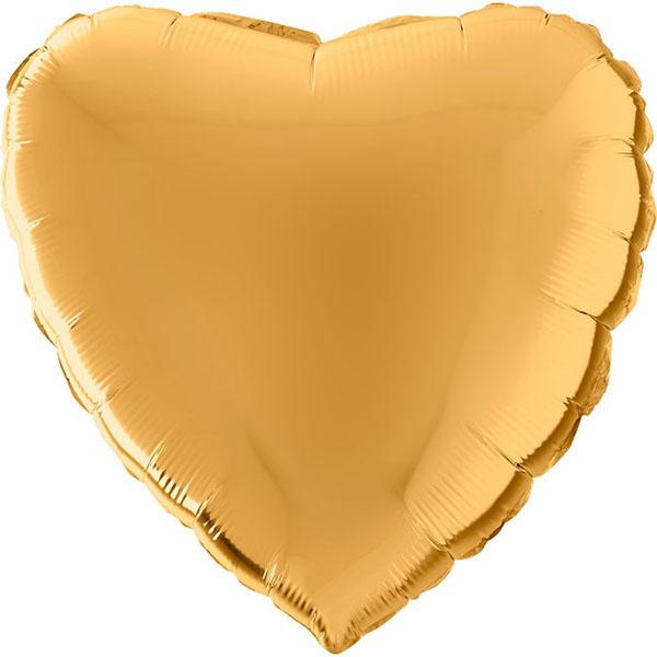 Wunderschöner goldener Folienballon in Herzform.