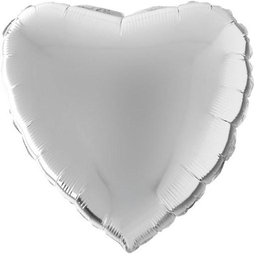 Silberenes Herz Folienballon 56cm