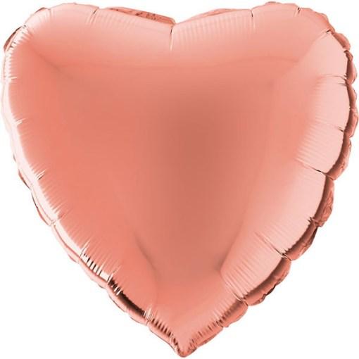 Wunderschöner rosegoldener Folienballon in Herzform.