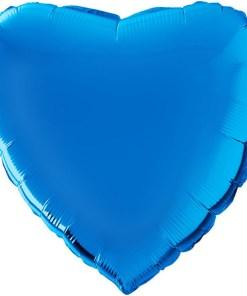 Wunderschoener blauer Folienballon in Herzform.