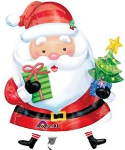 Santa mit Weihnachtsbaum und Geschenk
