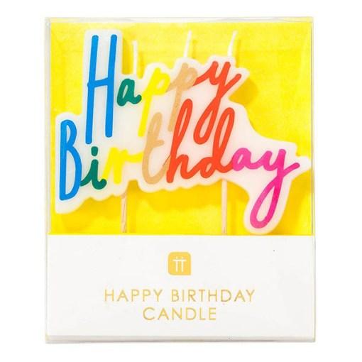 Geburtstagskerze Happy Birthday Schriftzug bunt Regenbogenfarben verpackt