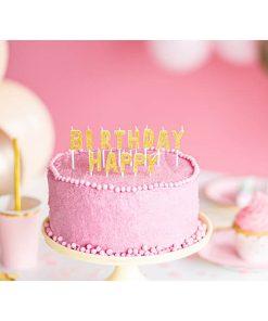 Geburtstagskerzen, Happy Birthday Schriftzug gold, 2,5cm, 13 Stück Dekobeispiel