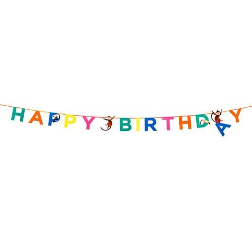 Buchstabengirlande HAPPY BIRTHDAY/Affen/Tukane, Pappe bunt, L 3,5 m, lang