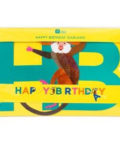Buchstabengirlande HAPPY BIRTHDAY/Affen/Tukane, Pappe bunt, L 3,5 m, Verpackung