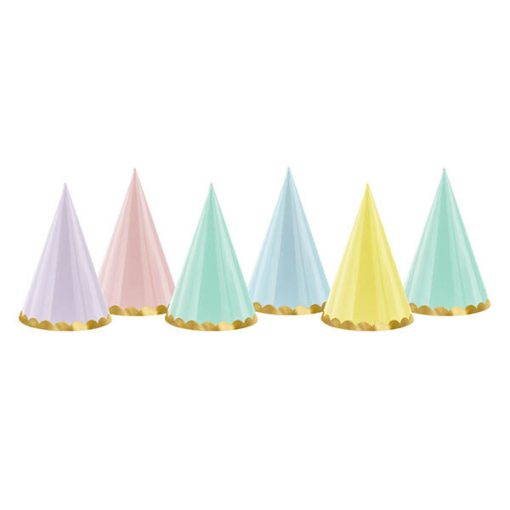 Papierhuete Partyhuete Pastell und Gold Packung 6 Stck H16cm D10cm rotated