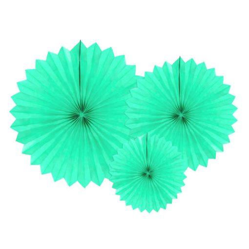 Partyfächer, light mint, 20cm,30cm,40cm, 1Pckng 3 Stck