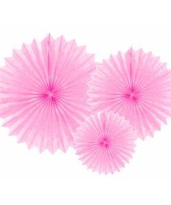 Partyfächer, light pink, 20cm,30cm,40cm, 1Pckng 3 Stck