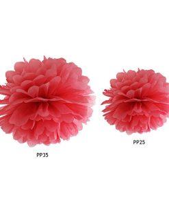 Pompom, Seidenpapier, red, 25cm und 35cm Größenvergleich