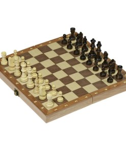 Schachspiel in Holzklappkassette 29,9 x 29,9 x 4,8 cm,Feldgröße3,3 x 3,3 cm, Holz, 32 Figuren_01