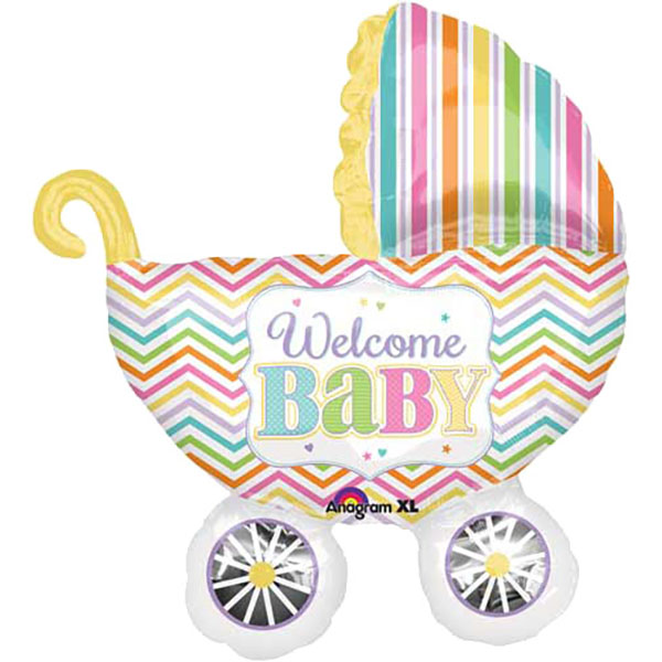 Kinderwagen Welcome Baby Folienballon Bunt 79cm