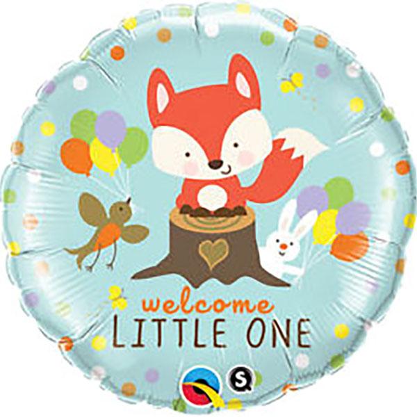 Welcome little one! Willkommensballon zur Geburt mit niedlichem Fuchsmotiv. Folienballon 45cm