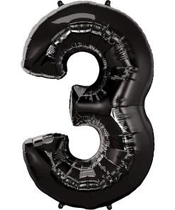 Zahl 3 Schwarz Folienballon H102cm
