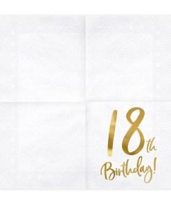 18th Birthday, Servietten, weiß mit goldenem Schriftzug, dreilagig, 20 Stk., 33 x 33 cm, entfaltet