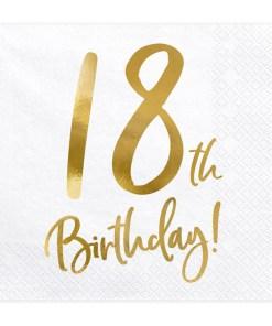 18th Birthday, Servietten, weiß mit goldenem Schriftzug, dreilagig, 20 Stk., 33 x 33 cm