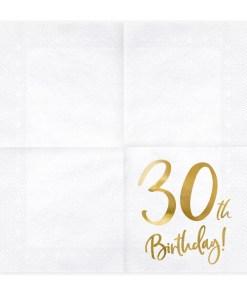 30th Birthday, Servietten, weiß mit goldenem Schriftzug, dreilagig, 20 Stk., 33 x 33 cm, entfaltet