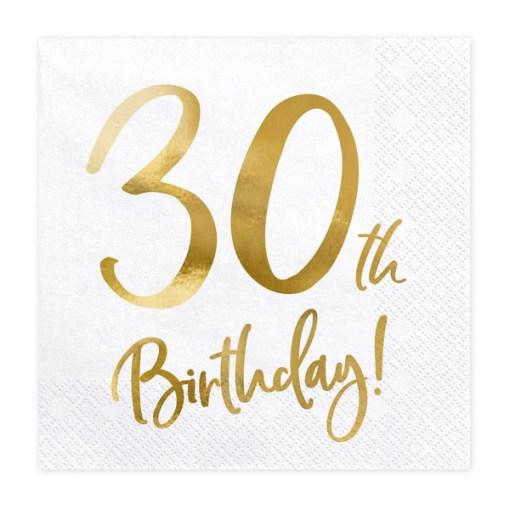 30th Birthday, Servietten, weiß mit goldenem Schriftzug, dreilagig, 20 Stk., 33 x 33 cm