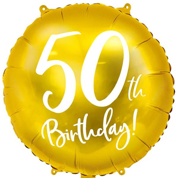 50th Birthday, Folienballon, gold mit weißer Schrift, 45cm