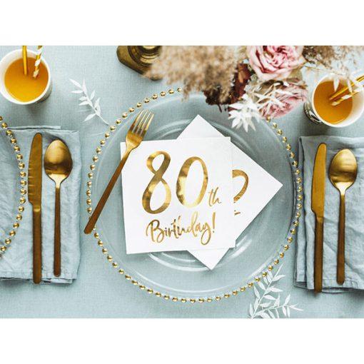80th Birthday, Servietten, weiß mit goldenem Schriftzug, dreilagig, 20 Stk., 33 x 33 cm, Dekobeispiel